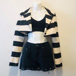 Vintage 90s Style Crop Striped Blazer